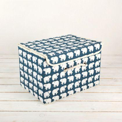 Коробка для хранения с крышкой «Белые мишки», 37 x 26 x 24 см