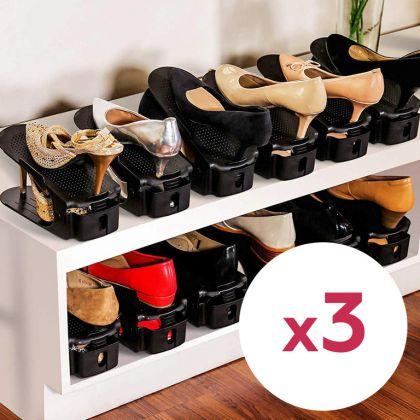 Комплект из подставок для обуви модель 1, черный, 3 шт, 25 х 9 х 10-18 см