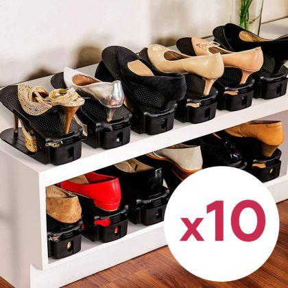 Комплект из подставок для обуви модель 1, черный, 10 шт, 25 х 9 х 10-18 см