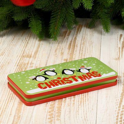 Шкатулка металлическая «Christmas», зеленый, 16,5 x 8 х 2 см