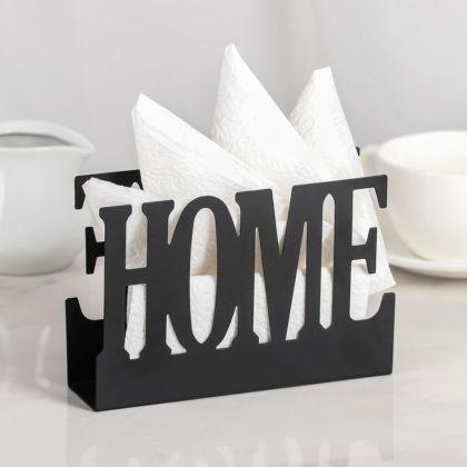 Подставка для салфеток «Home», черный, 15 x 4 x 10 см