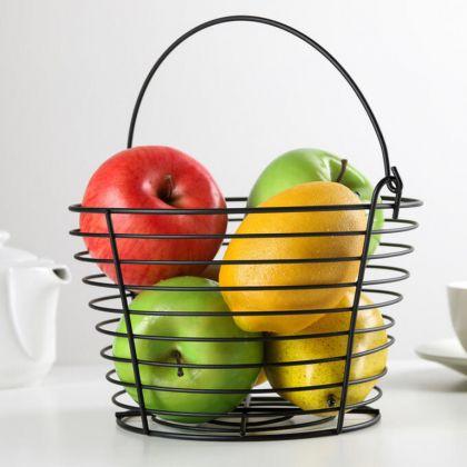 Корзина для фруктов, чeрный, 20 x 20 x 13 см