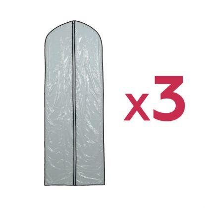 Комплект чехлов для одежды, прозрачный, 3 шт, 160 x 60 см