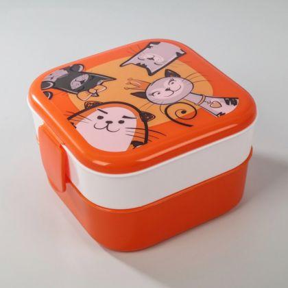 Контейнер для обеда «Cats», 2 отделения, 0,4 л, оранжевый, 13 x 13 x 8 см