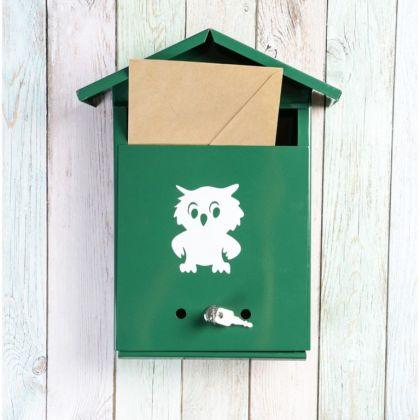 Почтовый ящик с замком-щеколдой в виде домика, зеленый, 36 х 28 х 5 см