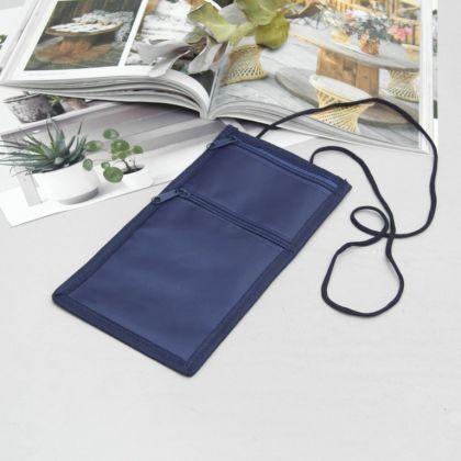 Туристический конверт-кошелек, синий, 12,5 x 0,5 x 25,5 см