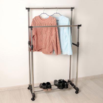 Стойка для одежды с подставкой для обуви, хром, 80 x 43 x 90 см
