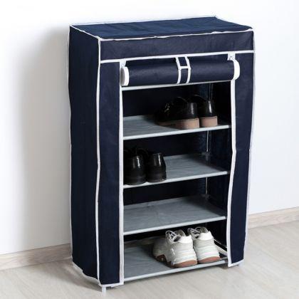 Тканевый шкаф для обуви 5 ярусов синий, 60 х 28 х 90 см