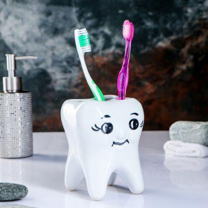 Стакан под зубную щетку «Здоровая улыбка», 9 x 9 x 10,5 см