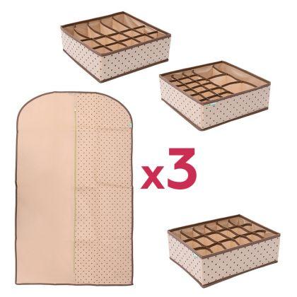 Комплект для хранения одежды и нижнего белья «Горох», 6 предметов, модель 1
