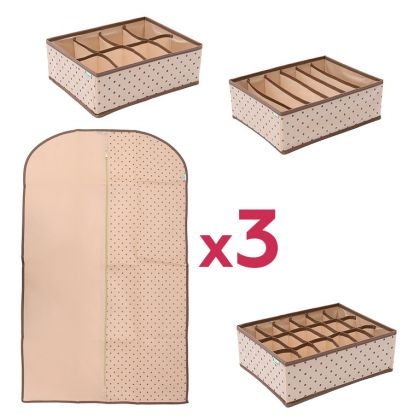 Комплект для хранения одежды и нижнего белья «Горох», 6 предметов, модель 3