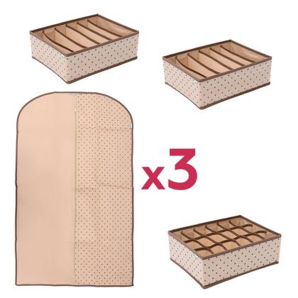 Комплект для хранения одежды и нижнего белья «Горох», 6 предметов, модель 2