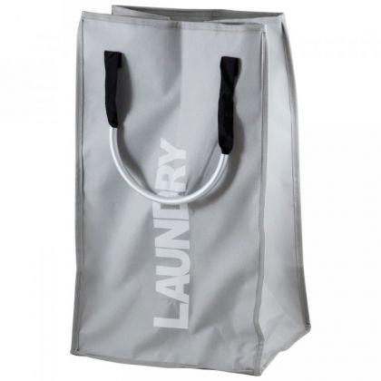 Корзина для белья с алюминиевыми ручками, серый, 34 x 28 x 52 см