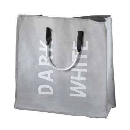 Корзина для белья двухсекционная с алюминиевыми ручками, серый, 54 x 26 x 52 см