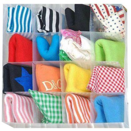 Коробка для белья пластиковая, 16 ячеек, 30 x 30 x 10 см