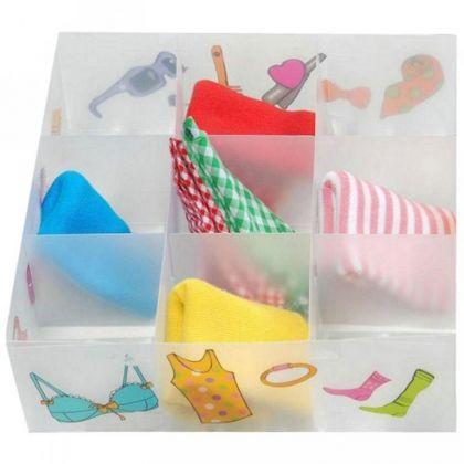 Коробка для белья пластиковая с принтом, 9 ячеек, 30 x 30 x 10 см