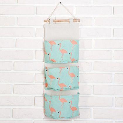 Органайзер с карманами подвесной «Flamingo», голубой, 60 x 20 см