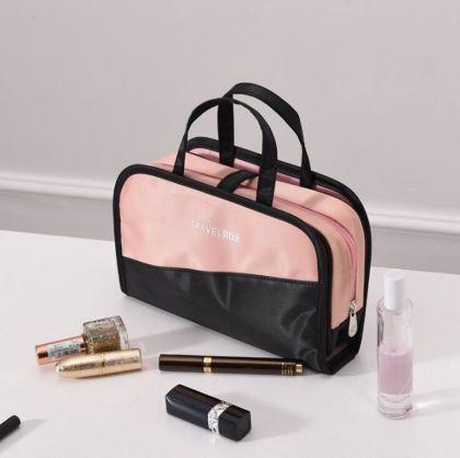 Косметичка и чехол для кистей, черный розовый, 24 x 6 x 15 см