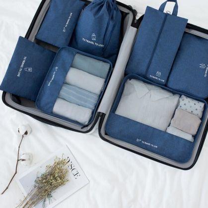 Комплект из 7 органайзеров для багажа «Premium», синий