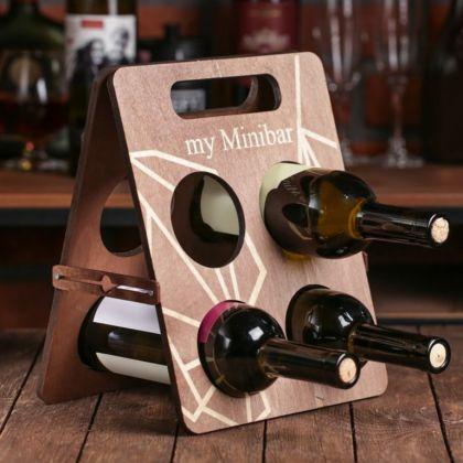 Подставка под 4 бутылки «Мой минибар», 23,5 x 2 x 29,7 см