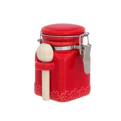 Банка для специй «Red», с зажимом, деревянная ложка, объем 0,16 л, 9 x 7,5 x 9,5 см
