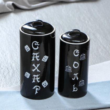 Набор для сахара и соли, 0,75 л, 0,5 л, черный, 17 x 9 x 20 см