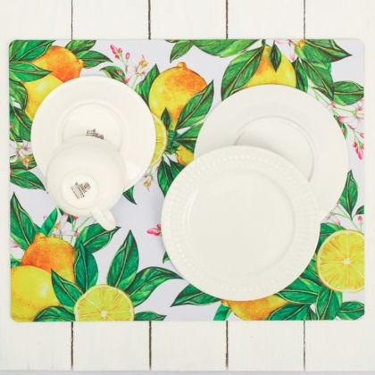 Коврик для сушки посуды «Цитрусовый», белый, 44 х 35 см
