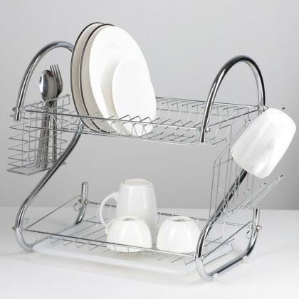 Сушилка для посуды S-образная, хром, 40 х 23,5 х 34 см
