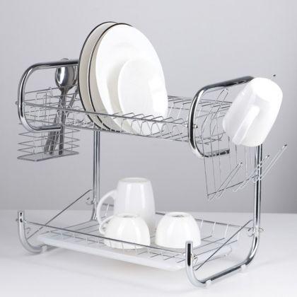 Сушилка для посуды P-образная, хром, 40 х 23,5 х 34 см