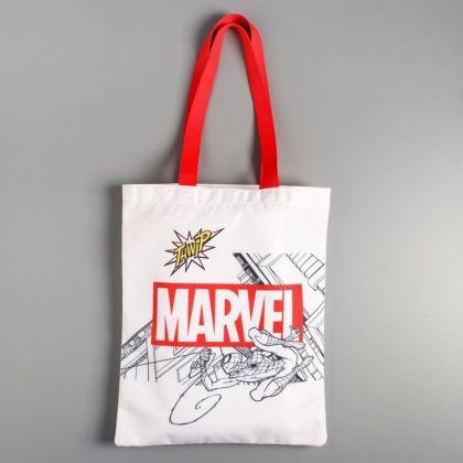 Сумка текстильная «Marvel», без молнии, белый, 31 x 1 x 40,5 см
