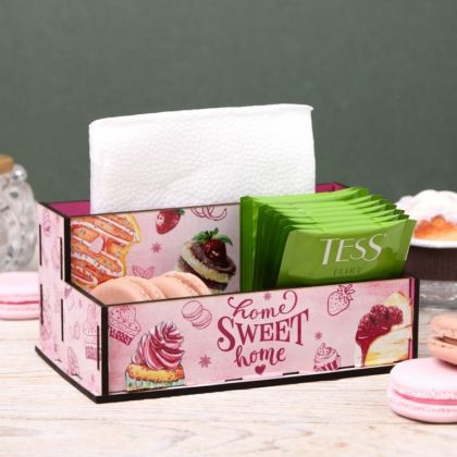Подставка для салфеток и специй «Sweet Home», розовый, 16,2 х 9,5 х 7,3 см