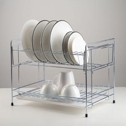 Сушилка для тарелок настольная разборная с поддоном, цинк, 39 x 12 x 26,5 см