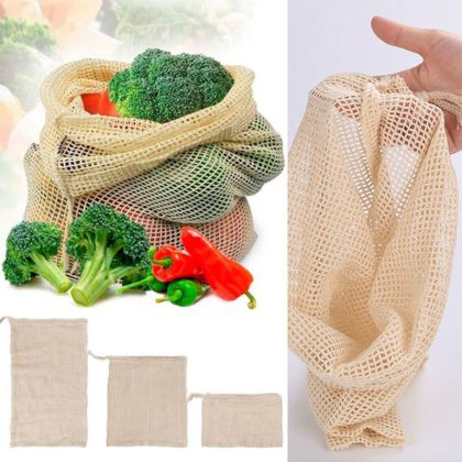 Экомешочек сетчатый для овощей и фруктов, бежевый, 29 х 20 см