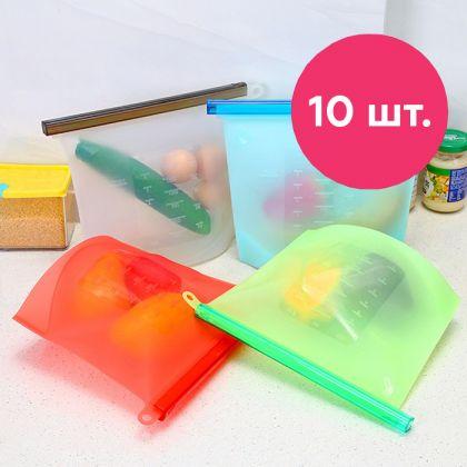 Набор силиконовых герметичных пакетов для хранения продуктов, 1 л, 10 шт, 18 x 2,5 x 22 см