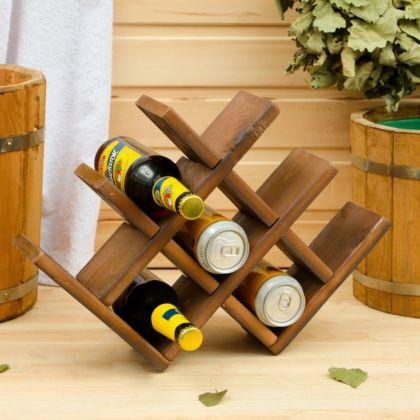 Подставка винная «Bar», мореная, коричневый, 48 х 10 x 35 см