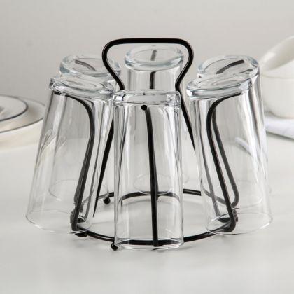 Сушилка для стаканов 6 крючков, черный, 20 x 20 x 18 см