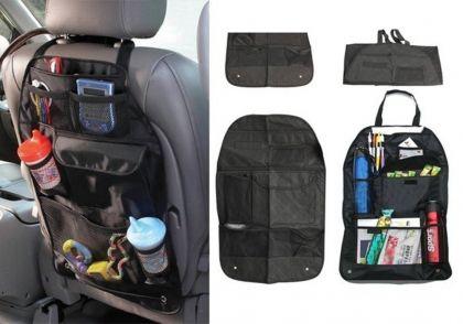 Авто-органайзер на спинку сидения с карманами, черный, 57 x 39 см