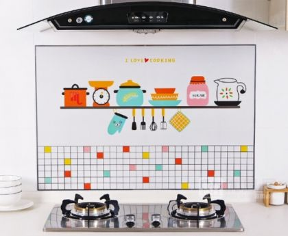 Наклейка жироотталкивающая для кухни «Kitchen», 90 x 60 см