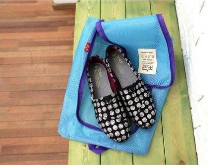 Сумка для обуви на молнии «Shoes Pouch», голубой, 36 x 27 см
