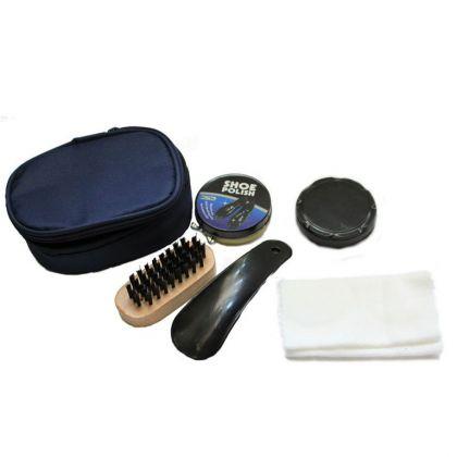 Несессер-набор для чистки обуви, синий, 12 х 9 х 4 см