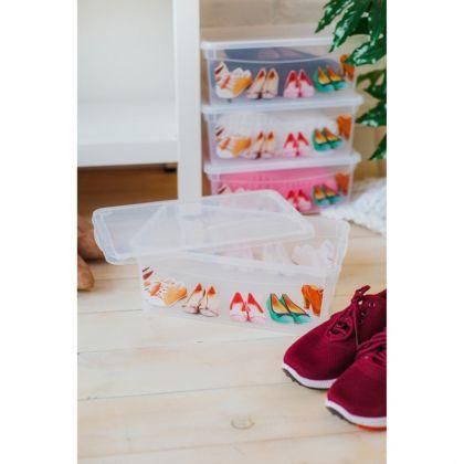 Короб для хранения обуви прямоугольный, прозрачный, 33 х 19 х 12 см