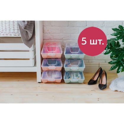 Комплект коробок для хранения обуви «Trace», голубой, 5 шт, 37 х 22 х 14 см