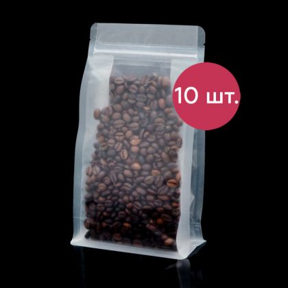 Комплект пакетов Zip-lock матовый с плоским дном, 10 шт, 22 х 12 см