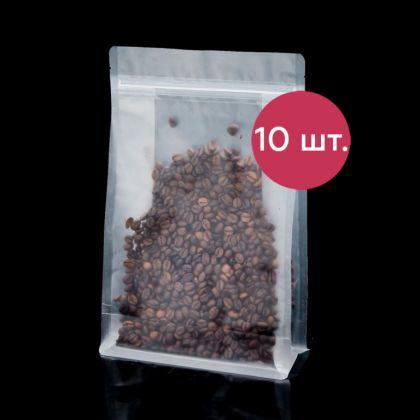 Комплект пакетов Zip-lock матовый с плоским дном, 10 шт, 28 х 18 см