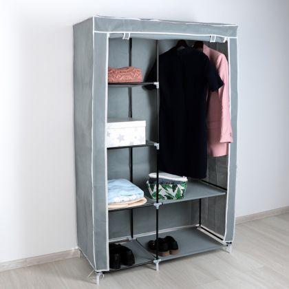 Тканевый шкаф для одежды, серый, 105×45×175 см