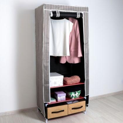 Тканевый шкаф в клетку, 2 ящика, 75 x 45 x 175 см