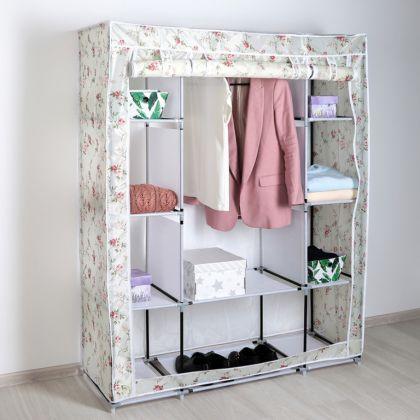 "Тканевый шкаф для одежды ""Маджорити"", белый цветок, 125 х 45 х 160 см"