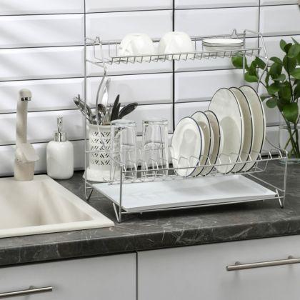 Посудосушитель настольно-настенный с поддоном, цинк, 39,5 x 25 x 38 см