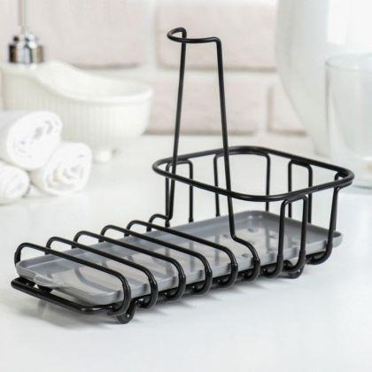 Подставка для губок и моющего средства, черный, 22 x 12 x 16 см