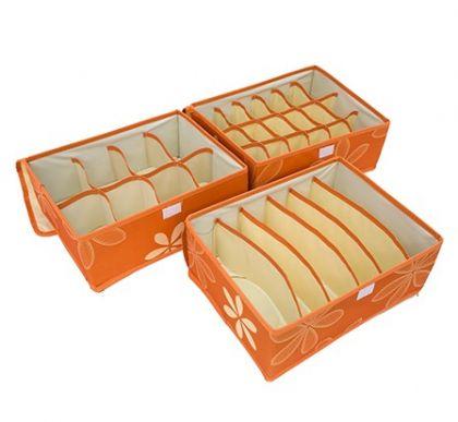 """Комплект из трех органайзеров с крышкой """"Премиум"""", оранжевый, 12 х 32 х 24 см"""